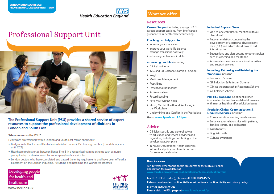 Professional Support Unit flyer, click to download